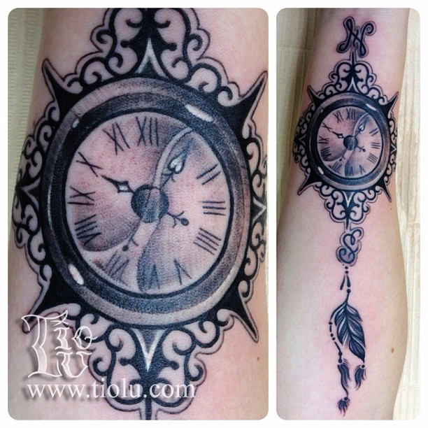 clock compass rose tattoos by tiolu. Black Bedroom Furniture Sets. Home Design Ideas