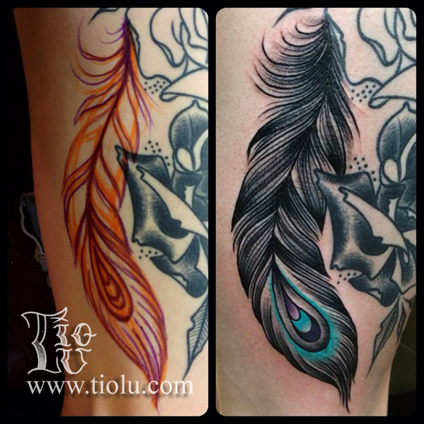 Freehand feather