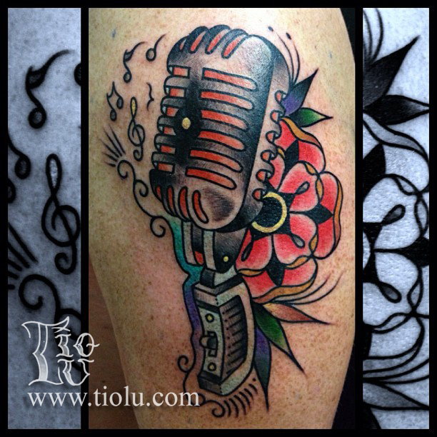 Vintage Microphone With Mandala Tattoos By Tiolu