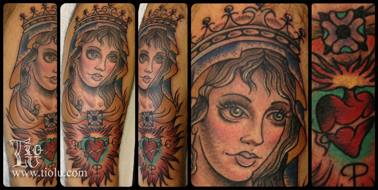 Mary Queen Of Saints With Sacred Heart Tattoos By Tiolu
