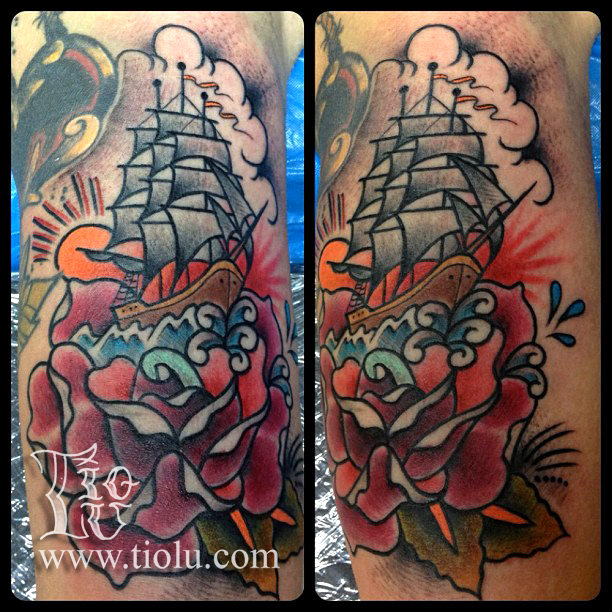 Sailing ship in a rose