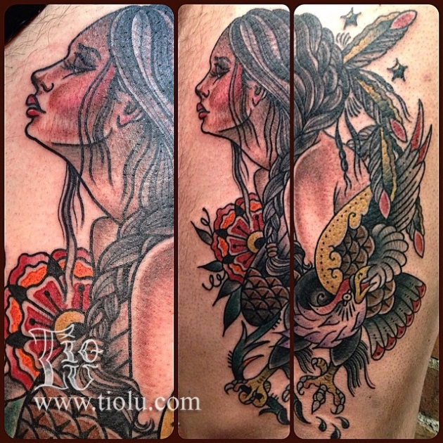 Native Girl & Eagle