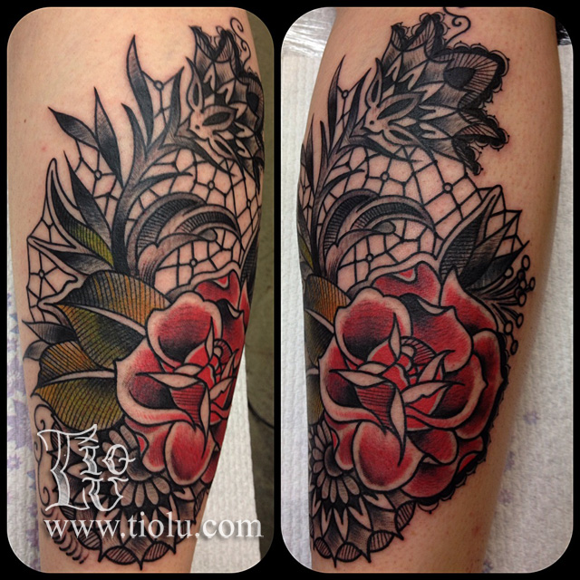 Lace rose tattoos by tiolu for Rose lace tattoo
