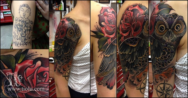 Cover-up Owl with rose