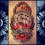 Ship and flower