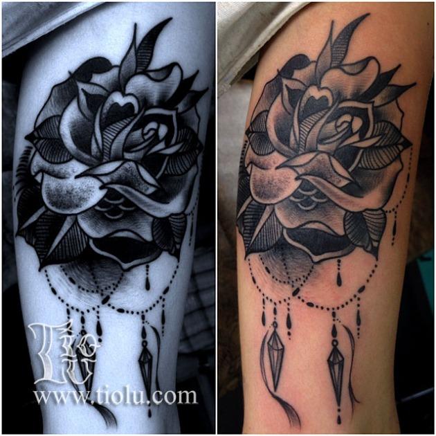 Rose with diamonds