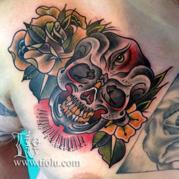 3rd Eye skull and Flowers