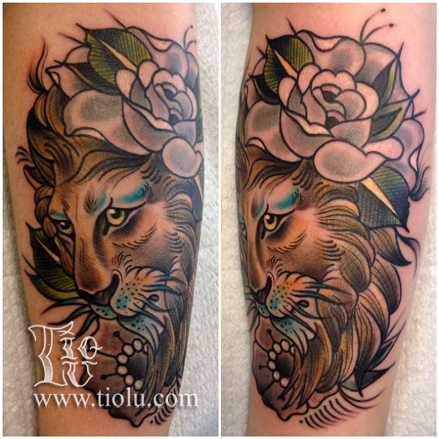 Lion and Flowers