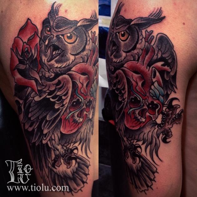 Owl heart skull