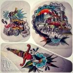 Tattoo machine, Train & Dagger
