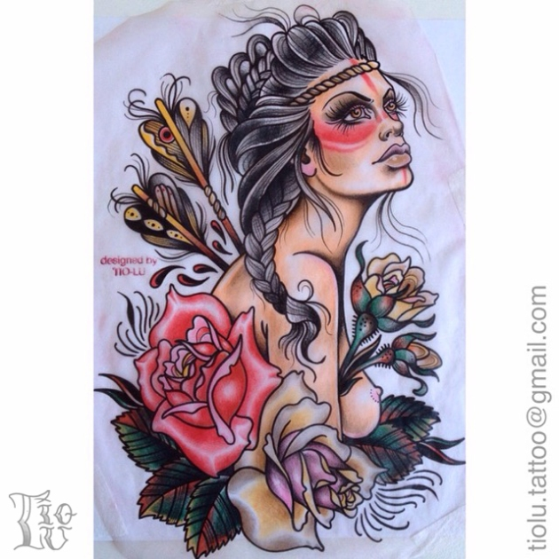 First Nations Gal with Roses